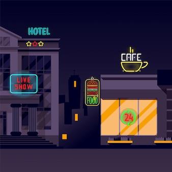 Bandeira de néon, sinais luminosos, iluminação na ilustração da cidade à noite. hotel de três estrelas, show ao vivo, café 24 horas e hambúrguer