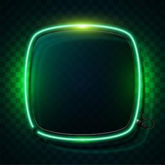 Bandeira de néon verde brilhante