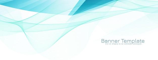 Bandeira de onda azul elegante e moderna abstrata