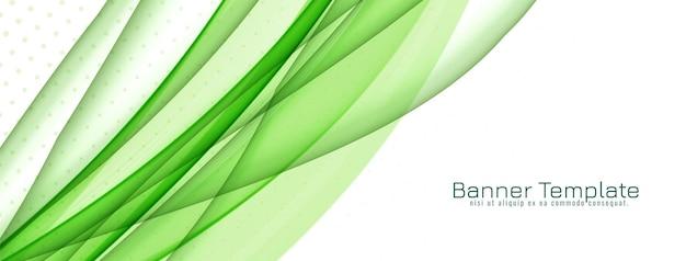 Bandeira de onda verde elegante e abstrata