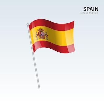 Bandeira de ondulação de espanha isolada em fundo cinza