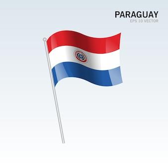 Bandeira de ondulação de paraguai isolada no fundo cinzento