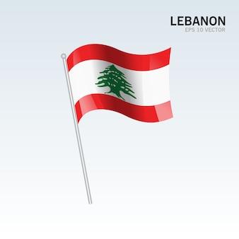 Bandeira de ondulação do líbano isolada em fundo cinza