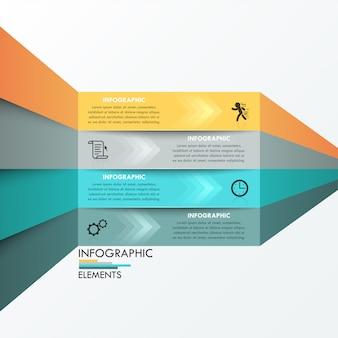 Bandeira de opção moderna infográfico com 4 fitas de papel