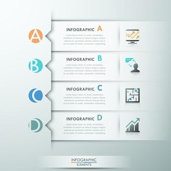 Bandeira de opção moderna infográfico com 4 fitas