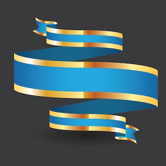 Bandeira de ouro azul fita isolado fundo