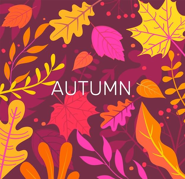 Bandeira de outono cheia de folhas de outono coloridas.