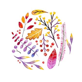 Bandeira de outono em aquarela