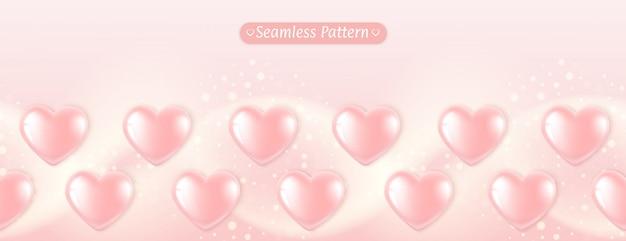 Bandeira de padrão horizontal sem costura coração rosa balões