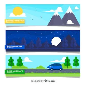 Bandeira de paisagem plana