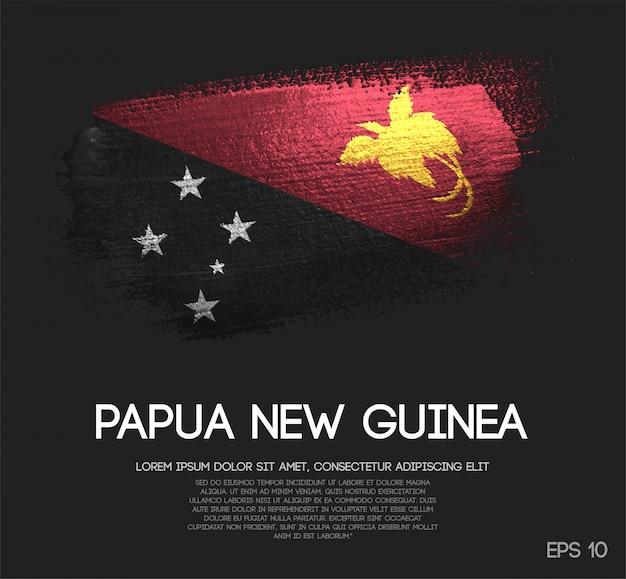 Bandeira de papua nova guiné feita de glitter sparkle brush paint