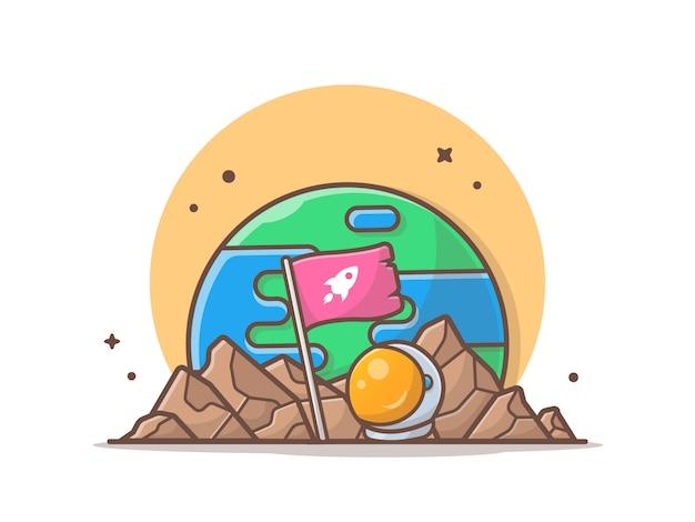 Bandeira de pé no planeta com ilustração de capacete de astronauta