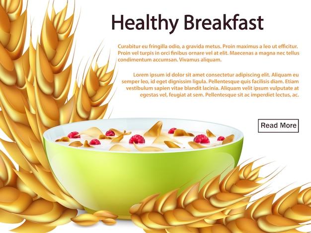 Bandeira de pequeno-almoço saudável