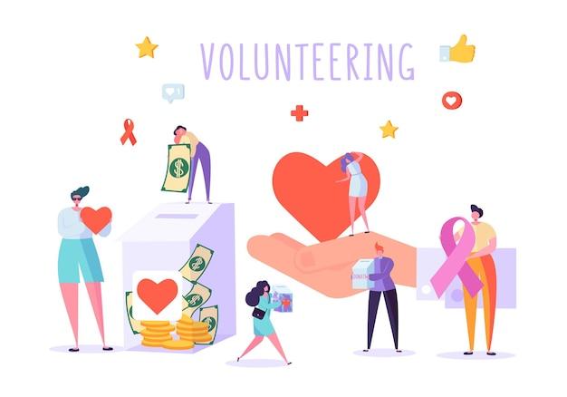 Bandeira de personagem de doação social de voluntário.
