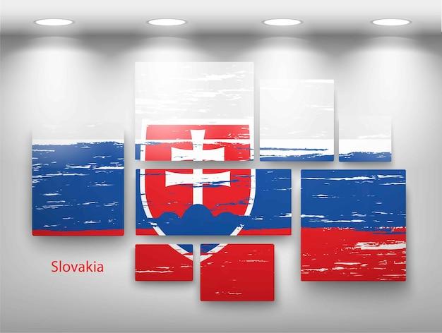 Bandeira de pintura na galeria. ilustração vetorial Vetor Premium
