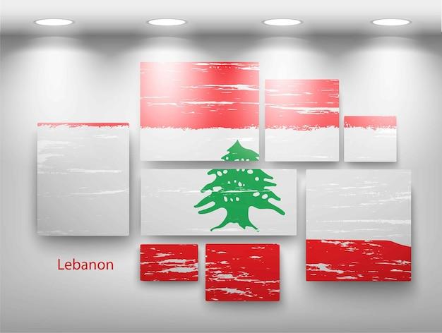 Bandeira de pintura na galeria. ilustração vetorial