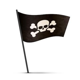 Bandeira de pirata em um poste com sombra