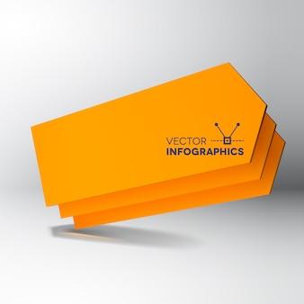Bandeira de placas de seta laranja 3d