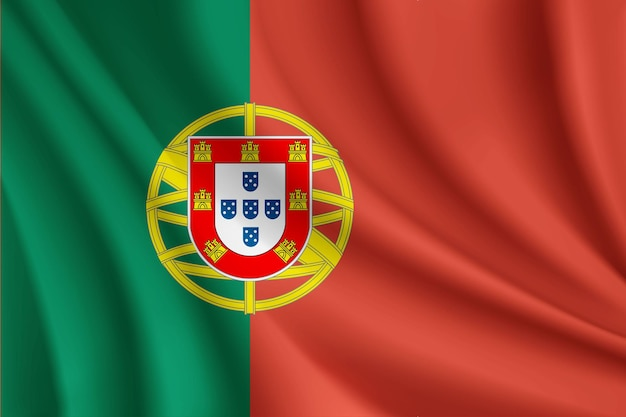 Bandeira de portugal bandeira ondulada realista
