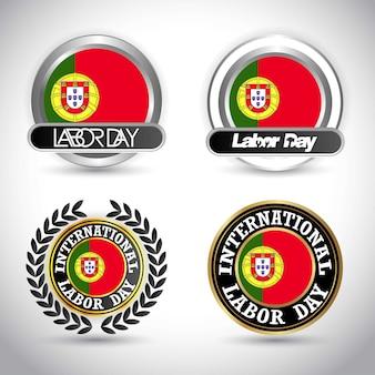 Bandeira de portugal com vetor de design dia do trabalho