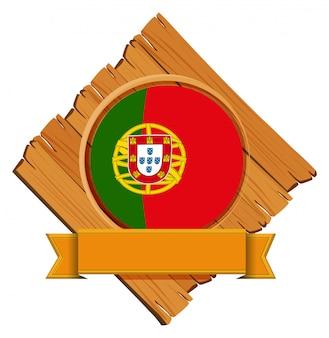 Bandeira de portugal na placa de madeira