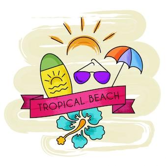 Bandeira de praia tropical de férias de verão aquarela