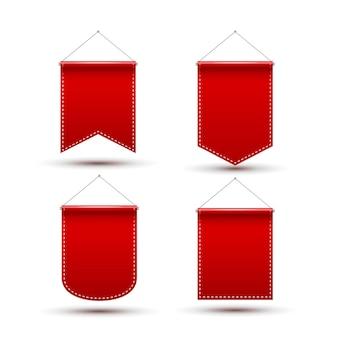 Bandeira de prêmio de bandeira galhardete vermelha. maquete de modelo de design de flâmula em branco