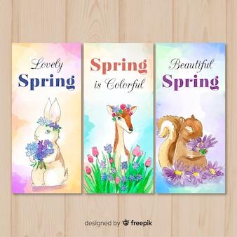 Bandeira de primavera animal aquarela