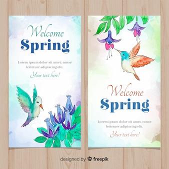 Bandeira de primavera de beija-flor em aquarela