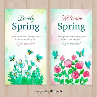 Bandeira de primavera de flores em aquarela
