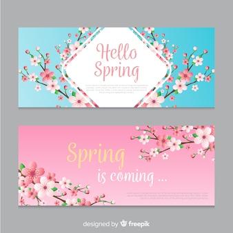 Bandeira de primavera floral árvore