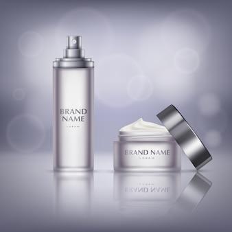 Bandeira de promoção de cosméticos, frasco de vidro com tampa aberta, cheia de creme hidratante