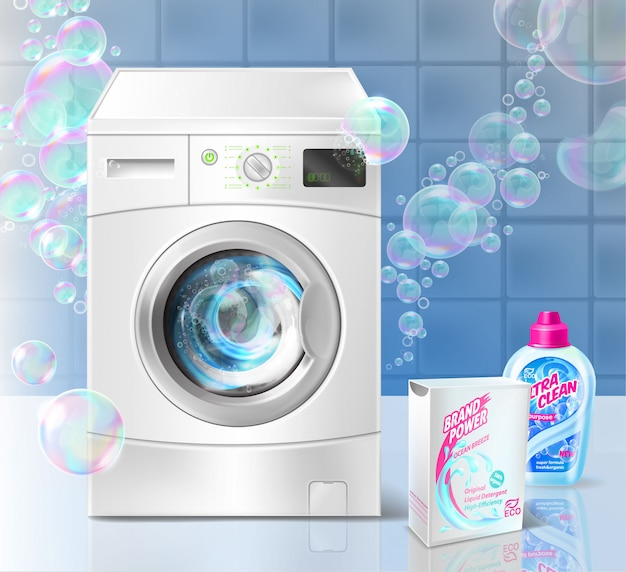 Bandeira de promoção de detergente líquido para lavanderia, com máquina de lavar roupa e bolhas de sabão