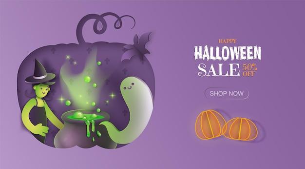 Bandeira de promoção de venda de halloween desenhada à mão. fundo roxo com fantasma de bruxa e caldeirão
