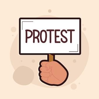 Bandeira de protesto na mão