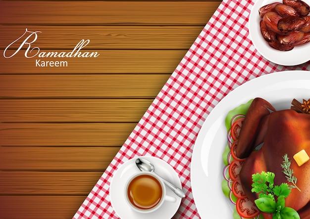Bandeira de ramadan kareem saudação