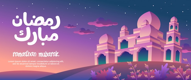 Bandeira de ramadhan mubarak com grande mesquita à noite