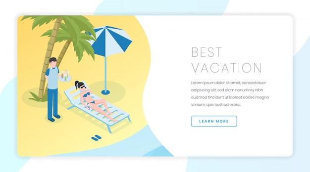 Bandeira de recreação de praia de areia. férias de verão, idéia de interface de homepage de site de resort tropical com ilustrações isométricas