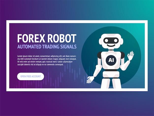 Bandeira de robô de negociação de bolsa de valores. mercado de forex. forex trading. tecnologias em negócios e comércio. inteligência artificial. mercado de ações. gestão de negócios.