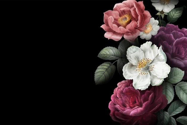 Bandeira de rosas desabrochando