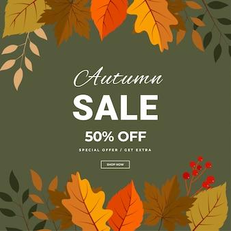 Bandeira de rotulação de venda outono. cartaz com desconto de oferta especial com folhas de outono. modelo de design sazonal de outono