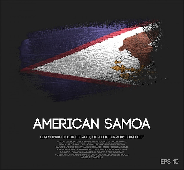 Bandeira de samoa americana feita de glitter sparkle brush paint