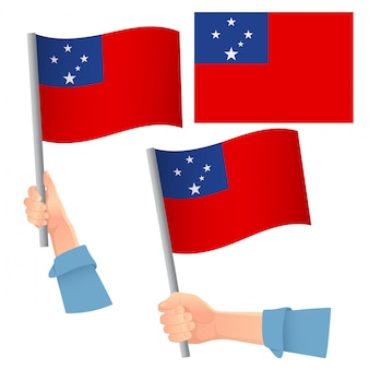 Bandeira de samoa na mão definida