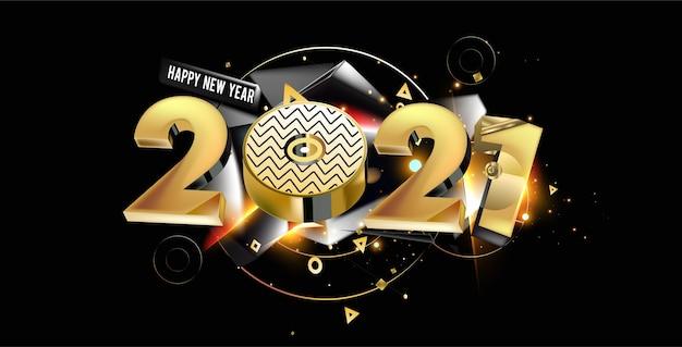 Bandeira de saudação de ano novo 2021 com letras abstratas douradas em fundo preto