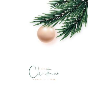 Bandeira de saudação minimalista de feliz natal e feliz ano novo.