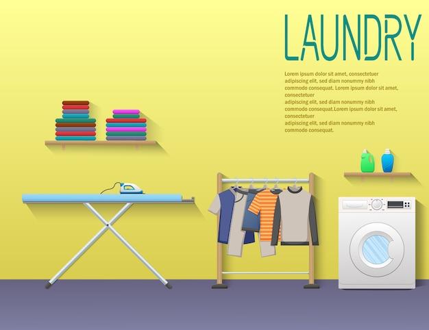 Bandeira de serviço de lavandaria com máquina de lavar roupa