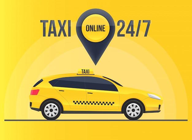 Bandeira de serviço on-line de táxi, arranha-céus da cidade urbana