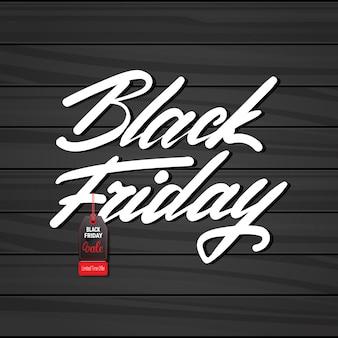 Bandeira de sexta-feira negra com tag no design texturizado de madeira