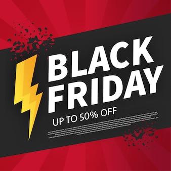 Bandeira de sexta-feira preta quebrada com oferta de flash