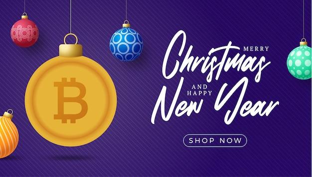 Bandeira de símbolo de bitcoin ouro feliz natal. sinal de bitcoin como bolinha de natal pendurado cartão de felicitações. imagem vetorial para o natal, finanças, dia de ano novo, banco, dinheiro